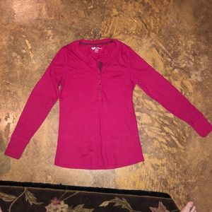Ribbed Pink Button Long Sleeve Top